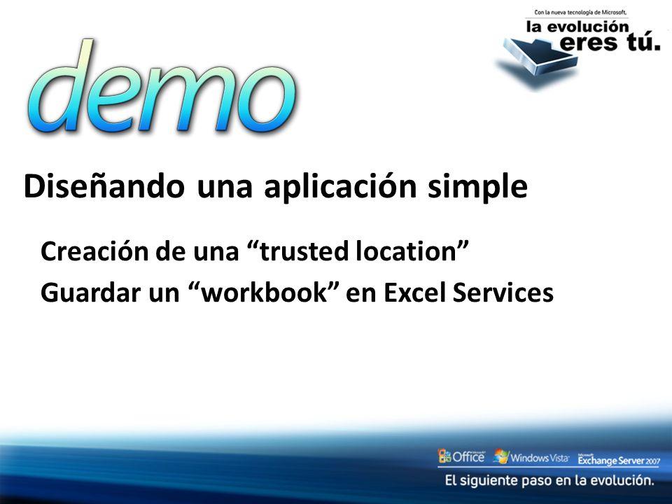 Diseñando una aplicación simple Creación de una trusted location Guardar un workbook en Excel Services