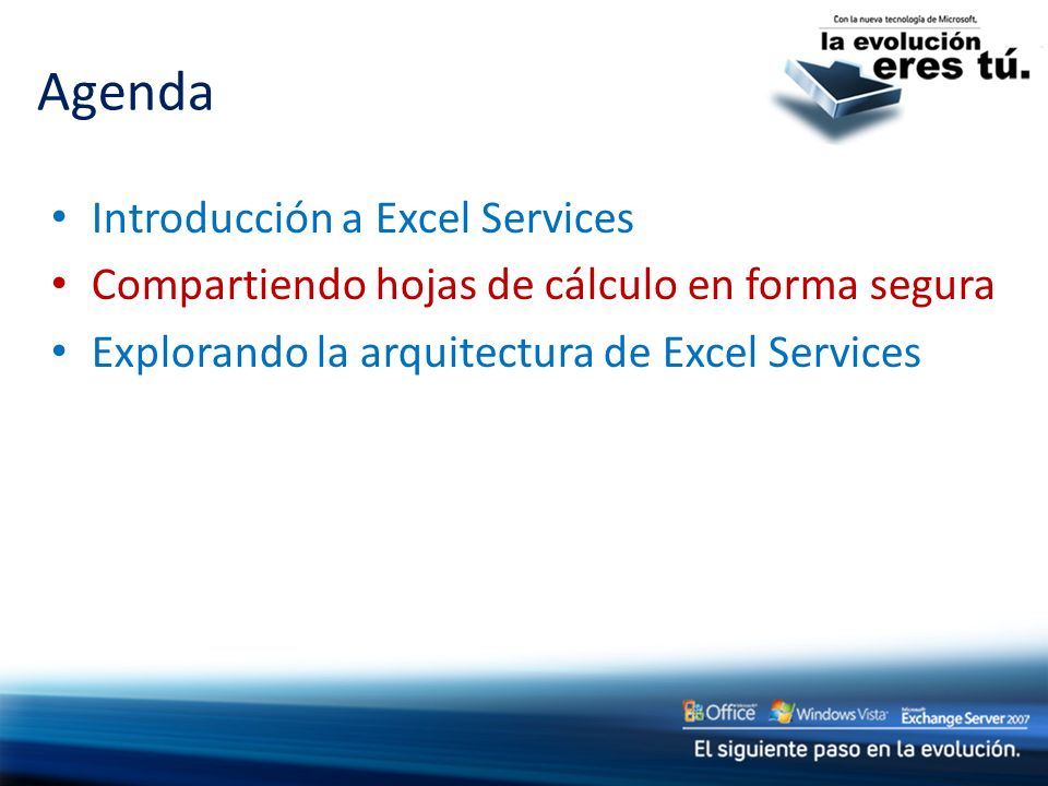 Introducción a Excel Services Compartiendo hojas de cálculo en forma segura Explorando la arquitectura de Excel Services Agenda