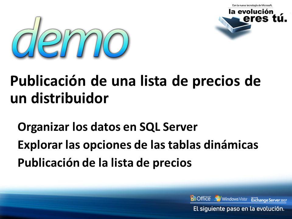 Publicación de una lista de precios de un distribuidor Organizar los datos en SQL Server Explorar las opciones de las tablas dinámicas Publicación de