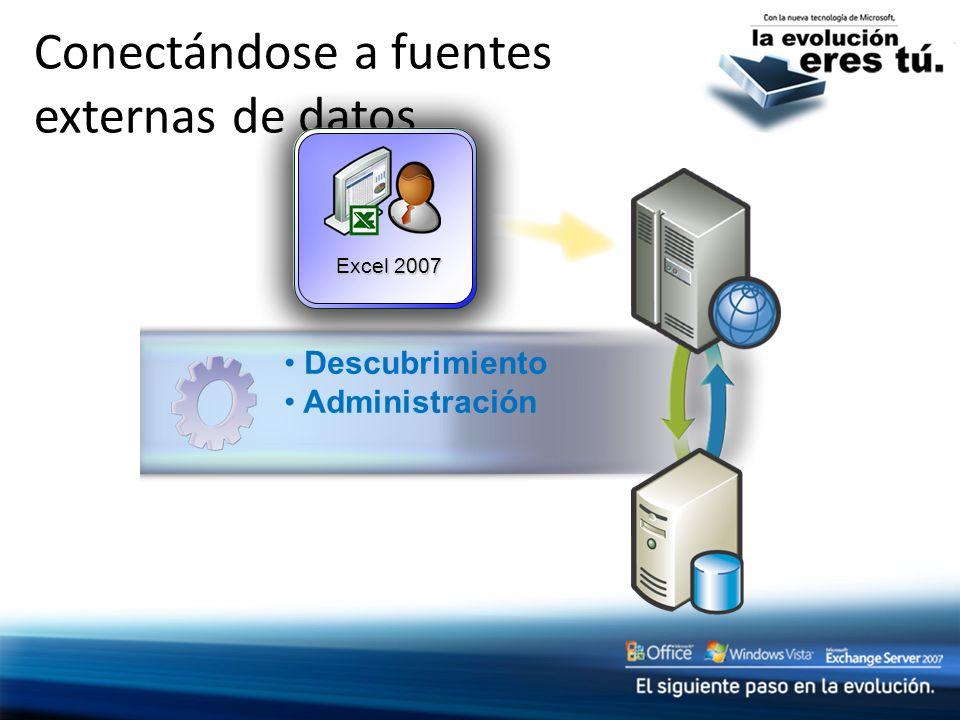 Conectándose a fuentes externas de datos Excel 2007 Descubrimiento Administración