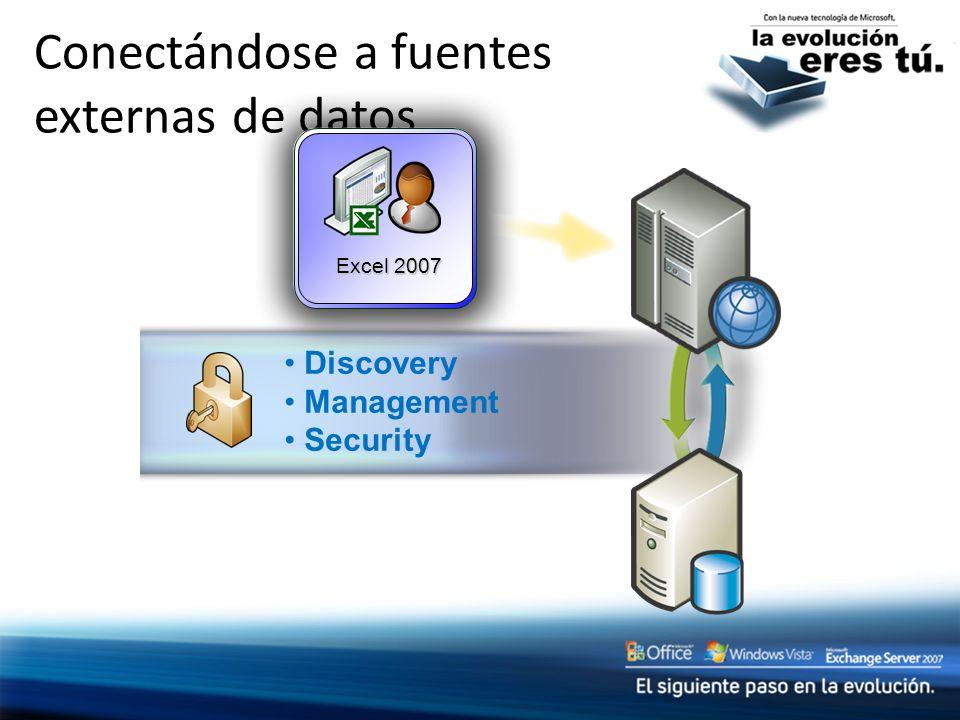 Conectándose a fuentes externas de datos Excel 2007 Discovery Management Security