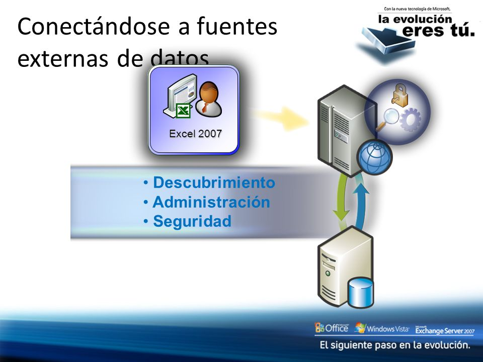 Conectándose a fuentes externas de datos Excel 2007 Descubrimiento Administración Seguridad