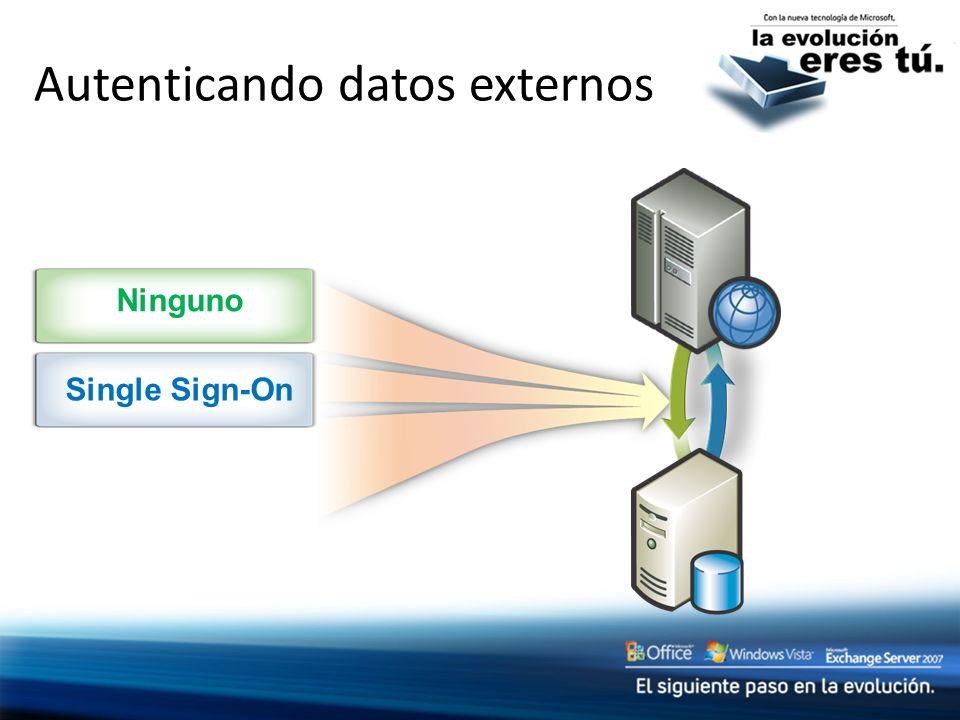 Autenticando datos externos Ninguno Single Sign-On