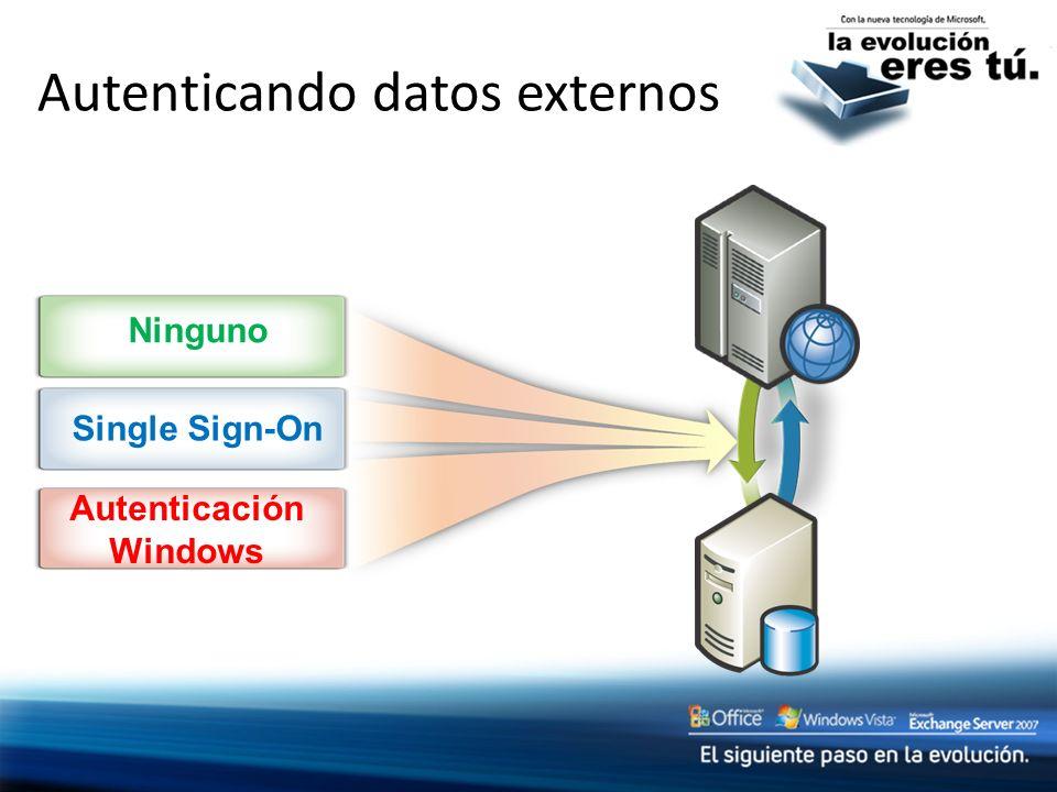 Autenticando datos externos Ninguno Single Sign-On Autenticación Windows