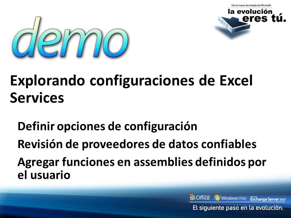 Explorando configuraciones de Excel Services Definir opciones de configuración Revisión de proveedores de datos confiables Agregar funciones en assemb