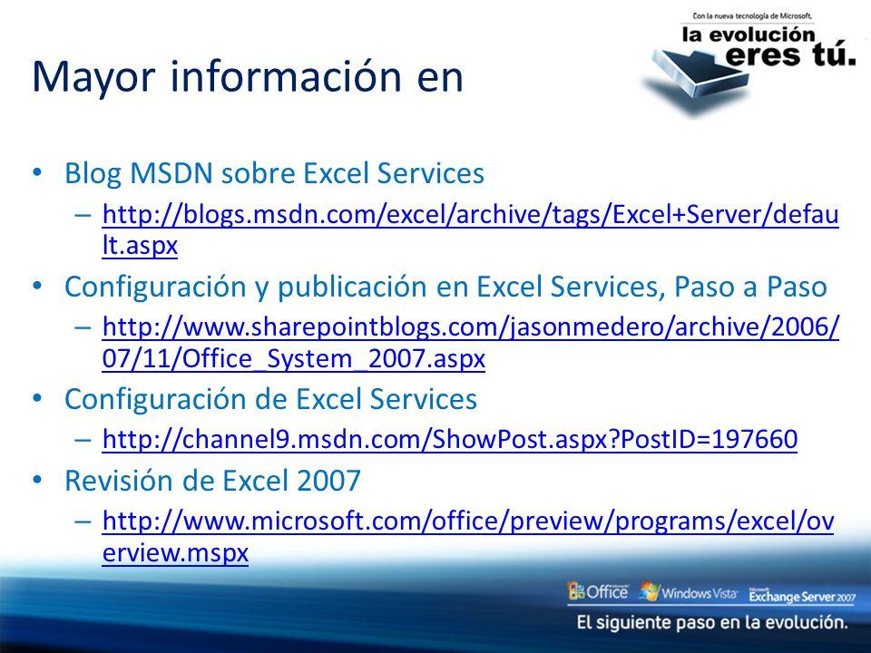 Mayor información en Blog MSDN sobre Excel Services – http://blogs.msdn.com/excel/archive/tags/Excel+Server/defau lt.aspx http://blogs.msdn.com/excel/