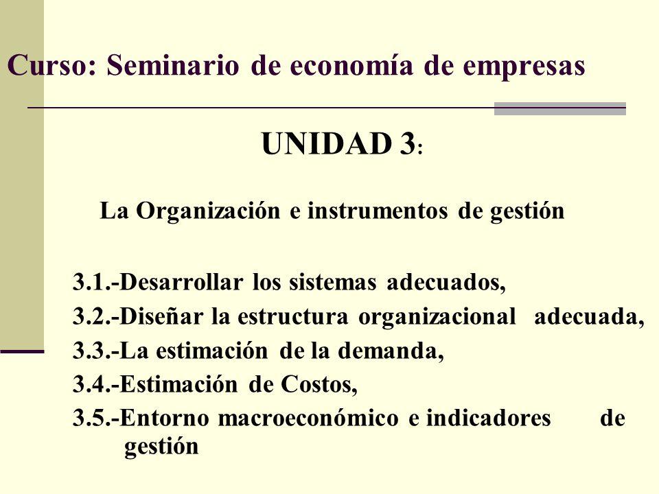 Curso: Seminario de economía de empresas UNIDAD 3 : La Organización e instrumentos de gestión 3.1.-Desarrollar los sistemas adecuados, 3.2.-Diseñar la