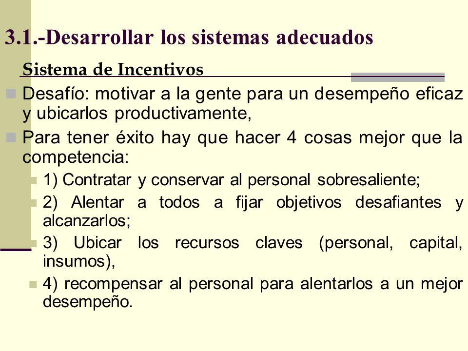 3.1.-Desarrollar los sistemas adecuados Sistema de Incentivos Desafío: motivar a la gente para un desempeño eficaz y ubicarlos productivamente, Para t
