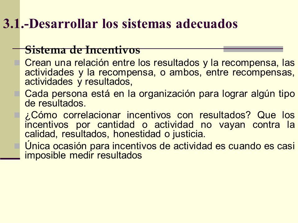 3.1.-Desarrollar los sistemas adecuados Sistema de Incentivos Para ser eficaces los incentivos deben motivar a individuos, grupos, concordar con las estrategias.