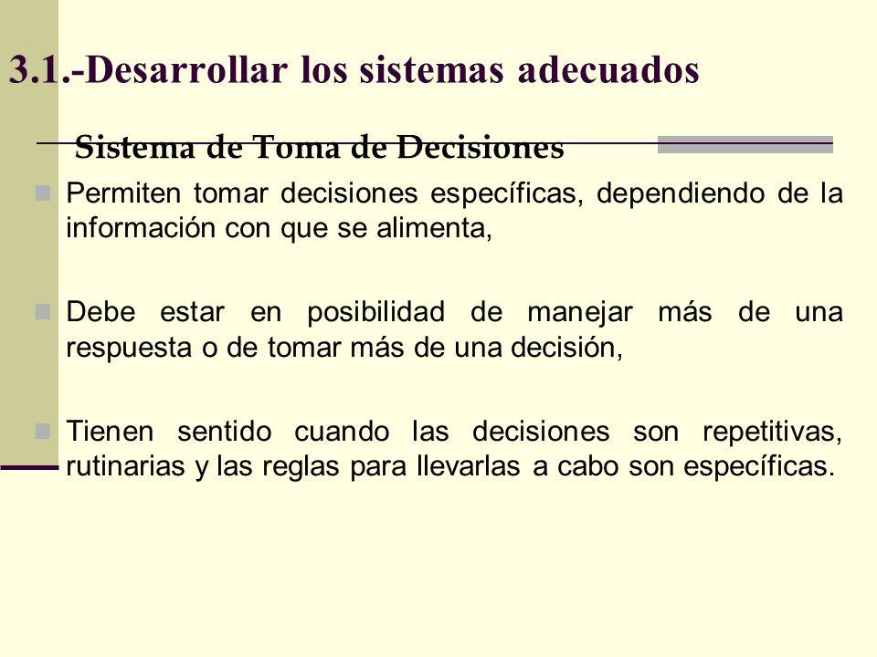 3.1.-Desarrollar los sistemas adecuados Sistema de Toma de Decisiones Permiten tomar decisiones específicas, dependiendo de la información con que se