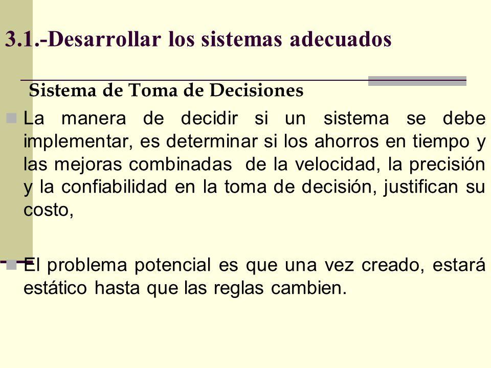 3.1.-Desarrollar los sistemas adecuados Sistema de Toma de Decisiones La manera de decidir si un sistema se debe implementar, es determinar si los aho