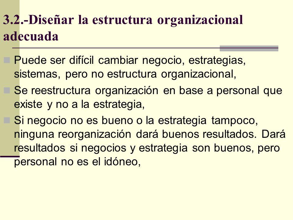 3.2.-Diseñar la estructura organizacional adecuada Puede ser difícil cambiar negocio, estrategias, sistemas, pero no estructura organizacional, Se ree