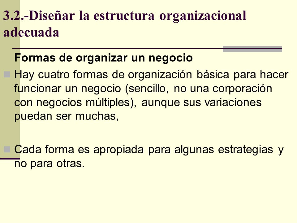 3.2.-Diseñar la estructura organizacional adecuada Forma básica de organización o de grupo de trabajo, Cuenta con director y un grupo de trabajadores, Todos son responsables de todo, Es una organización plana sin mandos intermedios, Dueño Forma emprendedora Trabajadores