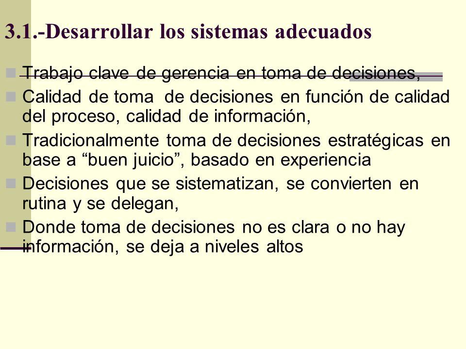 3.1.-Desarrollar los sistemas adecuados Trabajo clave de gerencia en toma de decisiones, Calidad de toma de decisiones en función de calidad del proce