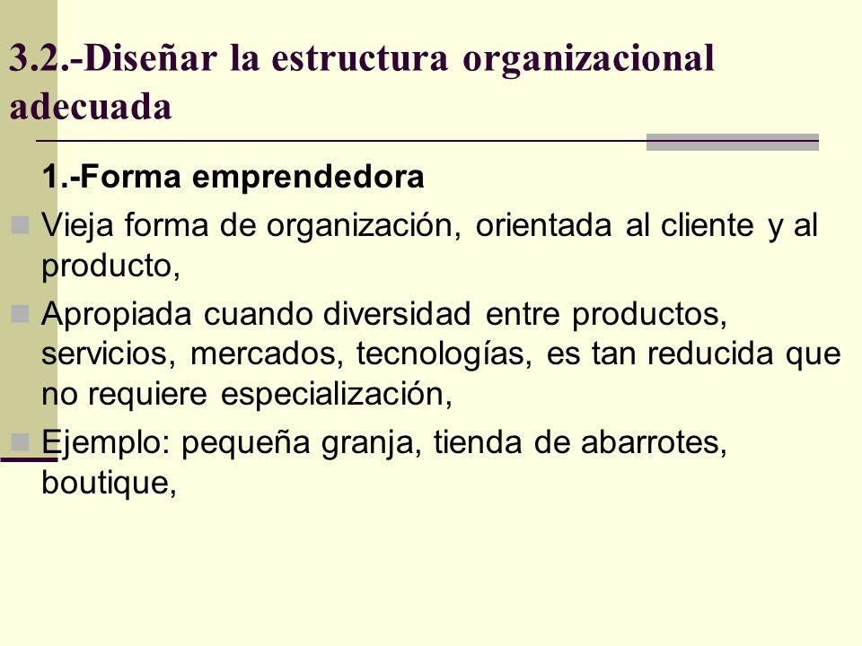 3.2.-Diseñar la estructura organizacional adecuada Es la primera forma a la que muchas organizaciones evolucionan, organizada por tareas, 2.-Forma Funcional Administrador MercadeoFinanzasProducciónInv.