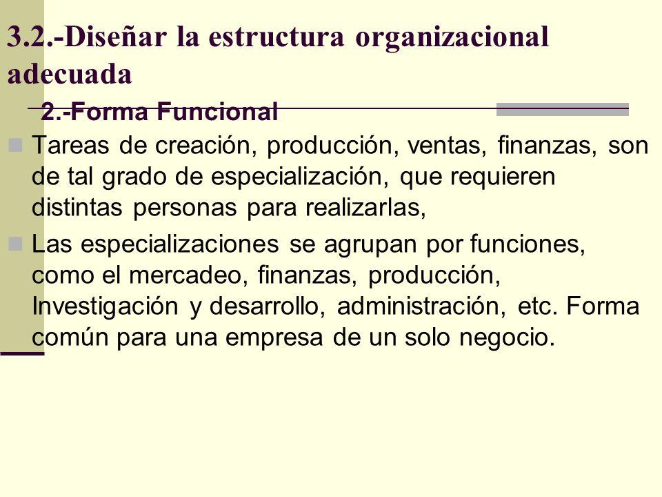 3.2.-Diseñar la estructura organizacional adecuada Tareas de creación, producción, ventas, finanzas, son de tal grado de especialización, que requiere