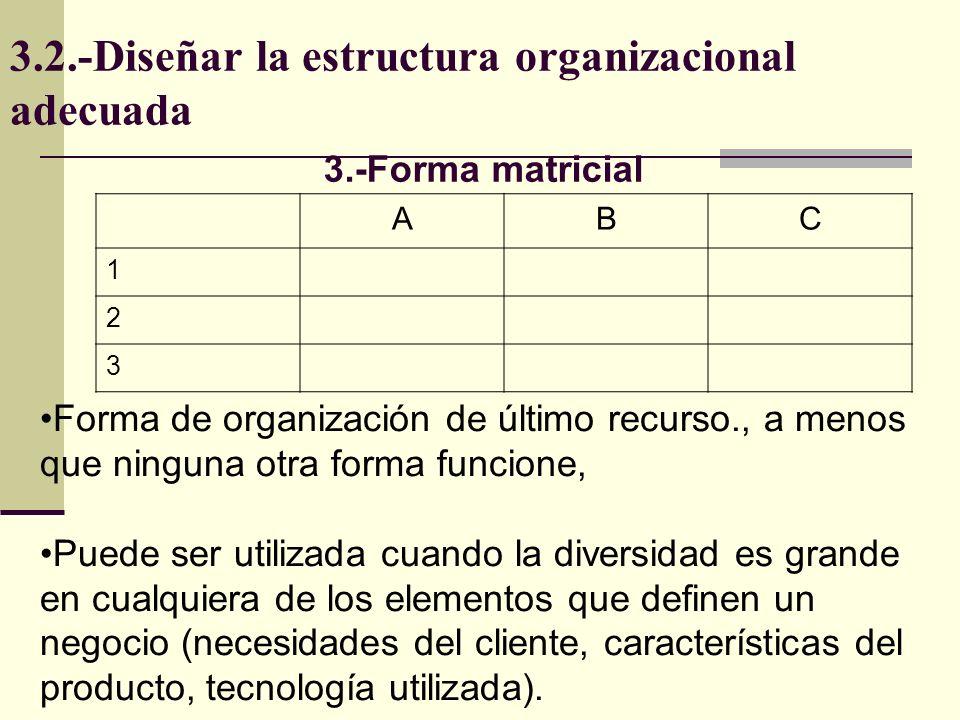 3.2.-Diseñar la estructura organizacional adecuada Cuando diversidad de mercados es grande, hay dos alternativas: seguir con forma funcional y designar directores por cada mercado; o una forma matricial, En las columnas irán mercados, productos, etc.