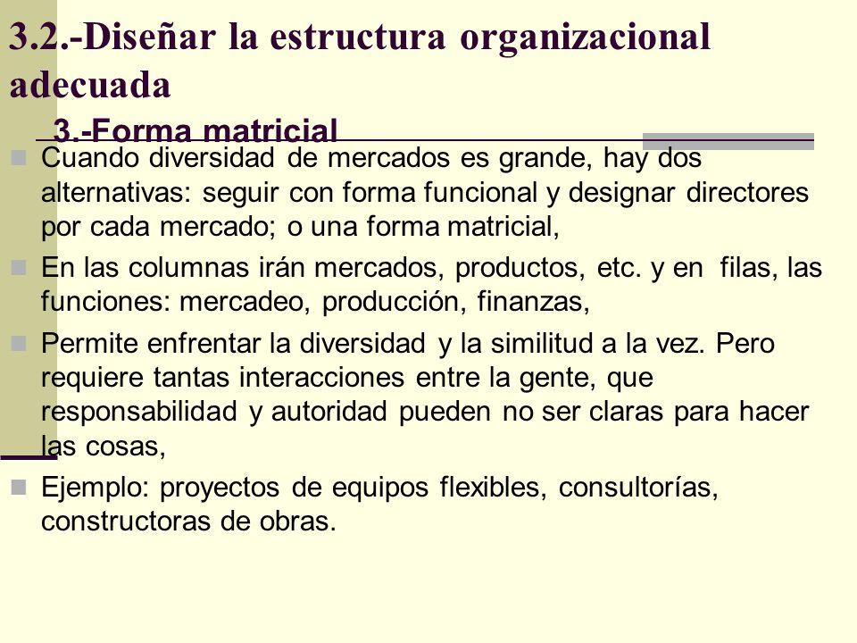 3.2.-Diseñar la estructura organizacional adecuada Cuando diversidad de mercados es grande, hay dos alternativas: seguir con forma funcional y designa