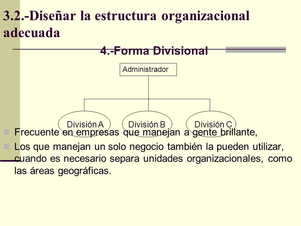 3.2.-Diseñar la estructura organizacional adecuada Frecuente en empresas que manejan a gente brillante, Los que manejan un solo negocio también la pue