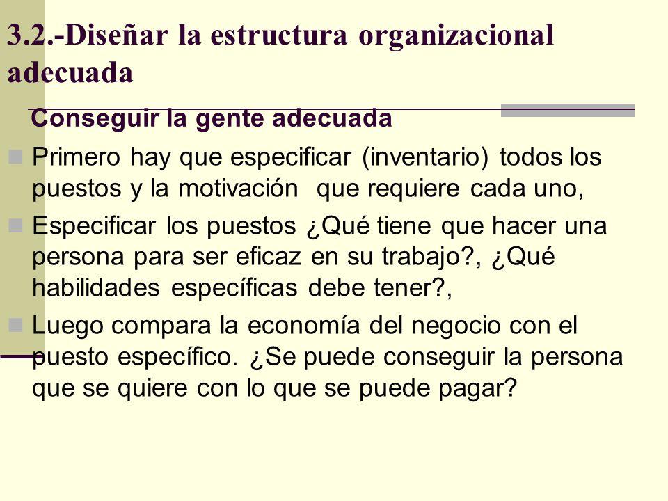 3.2.-Diseñar la estructura organizacional adecuada Primero hay que especificar (inventario) todos los puestos y la motivación que requiere cada uno, E