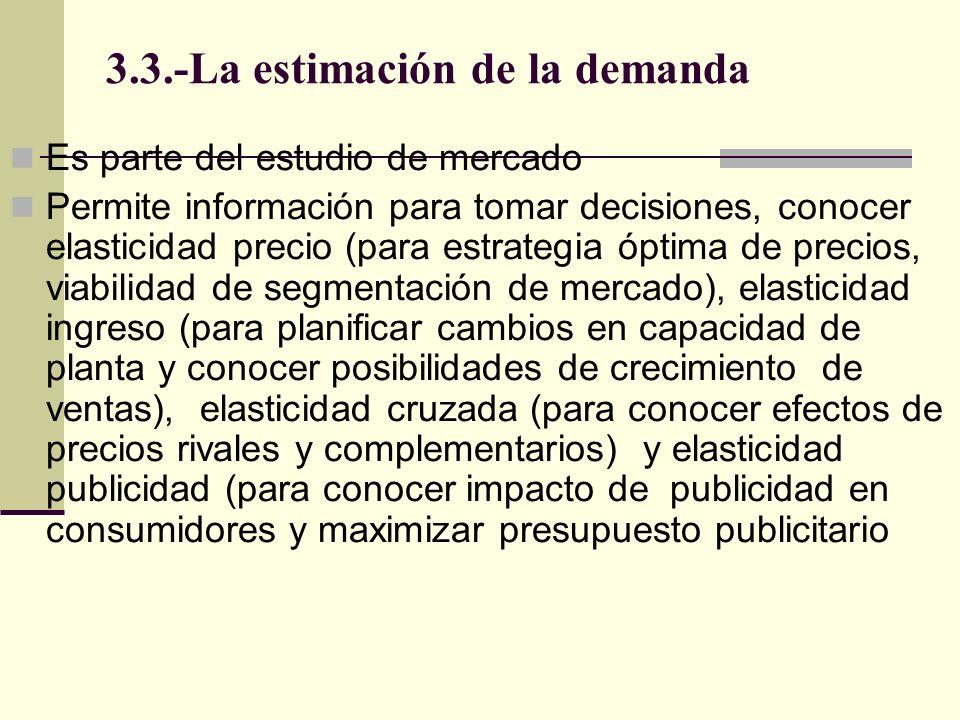 3.3.-La estimación de la demanda Es parte del estudio de mercado Permite información para tomar decisiones, conocer elasticidad precio (para estrategi