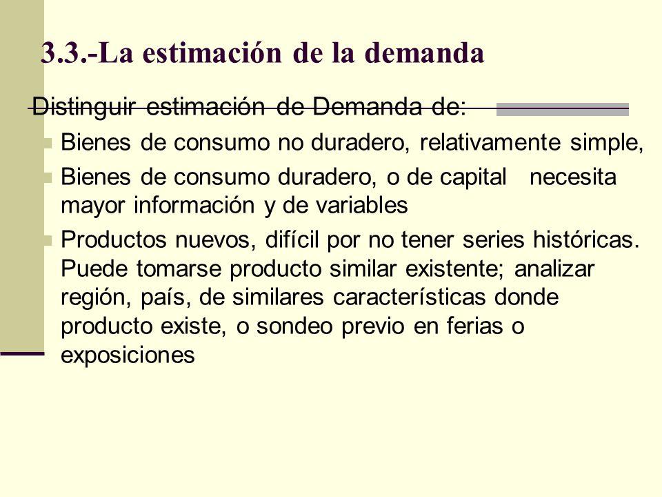 3.3.-La estimación de la demanda Requisitos para un buen análisis de precios o mercados: 1) conocer teoría económica detrás del concepto (variables determinantes, relación con consumo,) ; 2) conocimiento profundo del mercado, sus determinantes específicos; 3) conocimiento estadístico para hacer buena estimación.
