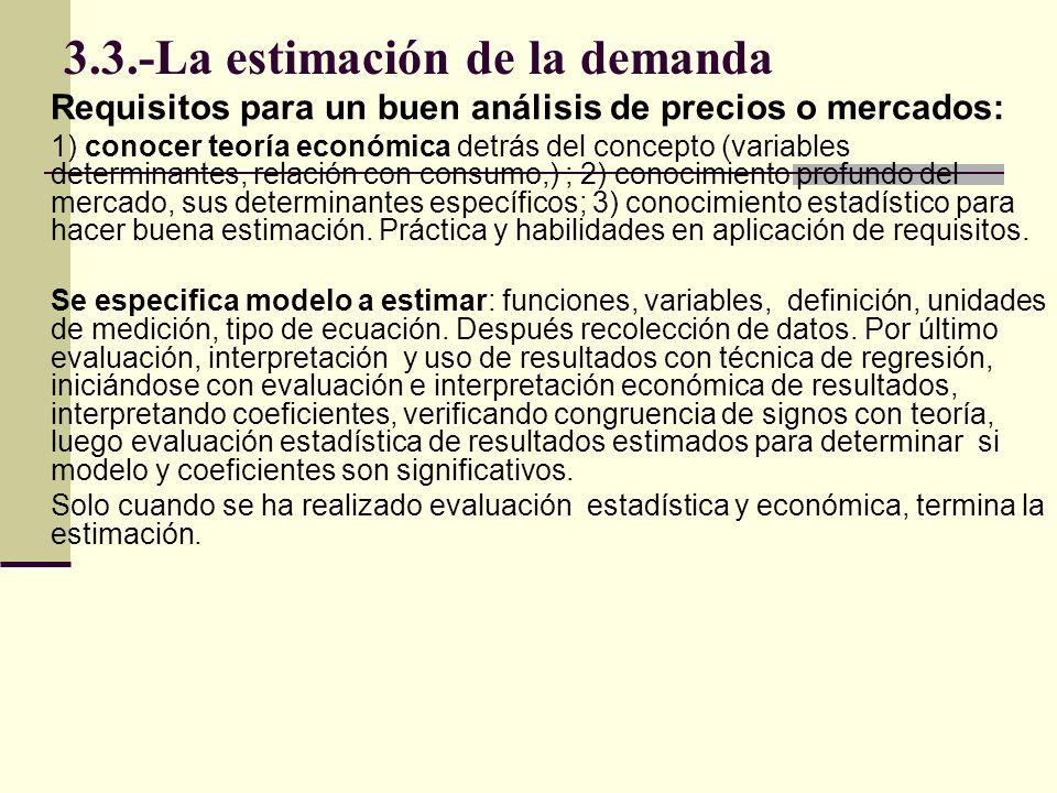 3.3.-La estimación de la demanda Requisitos para un buen análisis de precios o mercados: 1) conocer teoría económica detrás del concepto (variables de