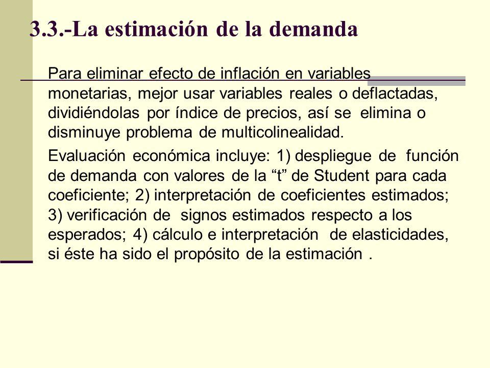 3.3.-La estimación de la demanda Evaluación estadística incluye: 1) análisis de significación del modelo completo; 2) significación de cada coeficiente de regresión estimados; 3)intervalos de predicción del modelo y de confianza de coeficientes de regresión; 4) bondad del ajuste de regresión; 5) prueba de auto regresión o auto correlación y su corrección; 6) análisis de puntos de giro para constatar la capacidad práctica del modelo estimado.