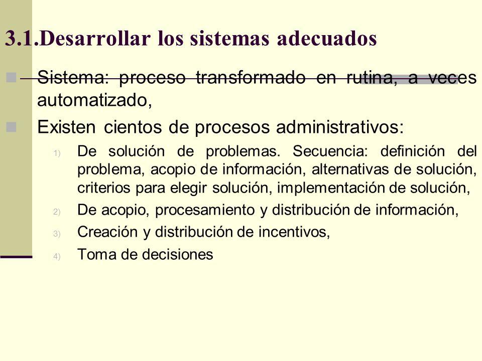 3.1.Desarrollar los sistemas adecuados Sistema: proceso transformado en rutina, a veces automatizado, Existen cientos de procesos administrativos: 1)
