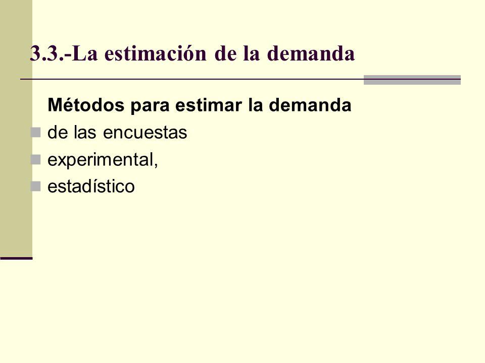 3.3.-La estimación de la demanda Considera muestra con preguntas, para tener tabla que relacione precio hipotético con cantidades por adquirir.