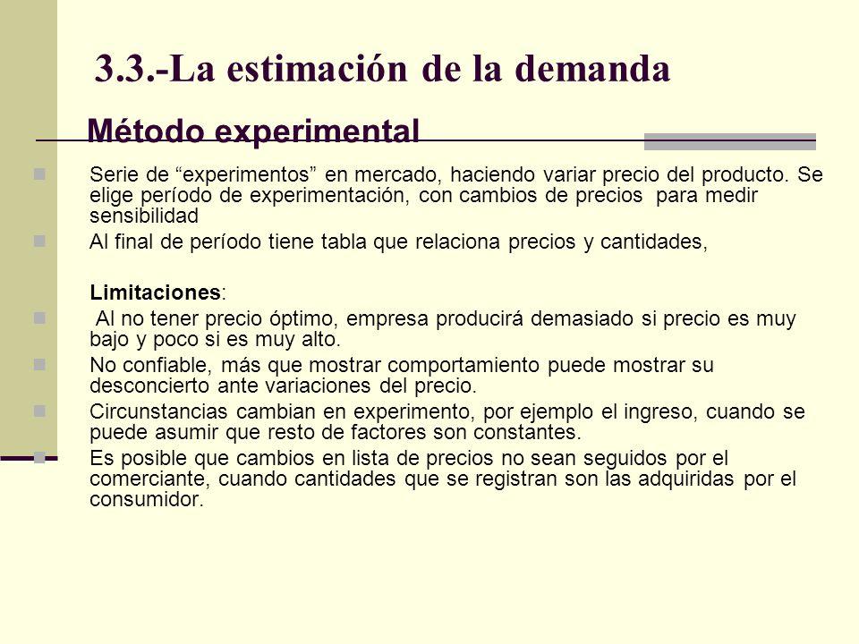 3.3.-La estimación de la demanda Serie de experimentos en mercado, haciendo variar precio del producto. Se elige período de experimentación, con cambi