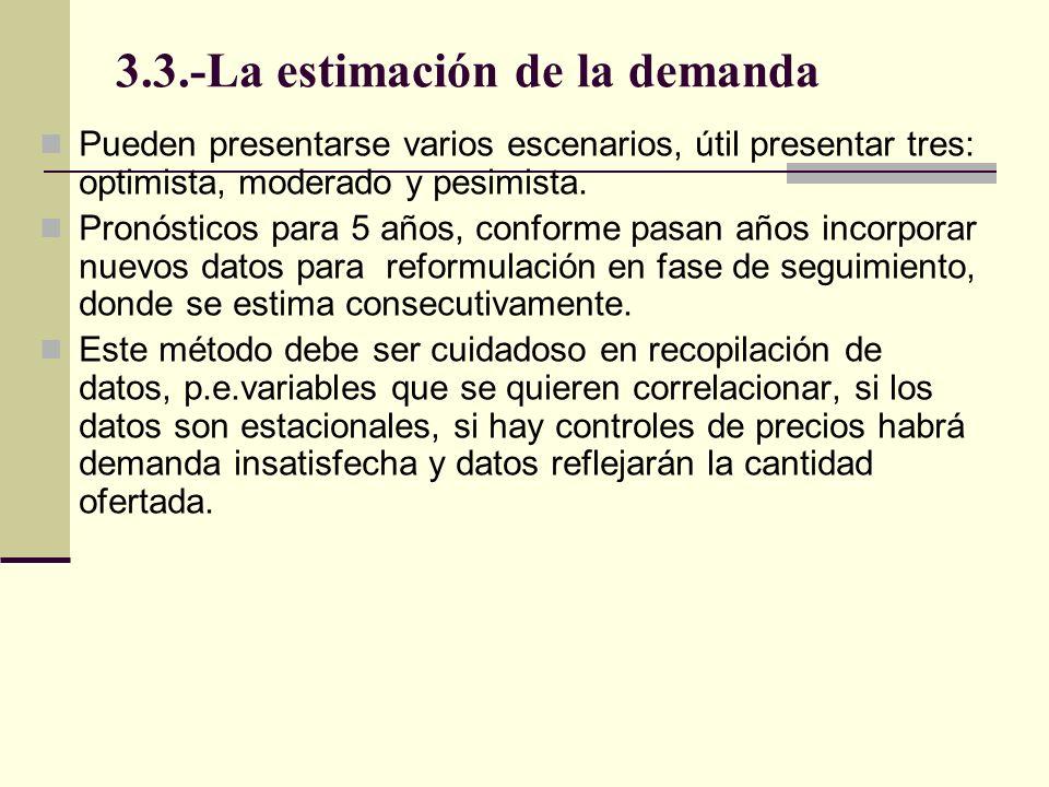 3.3.-La estimación de la demanda Pueden presentarse varios escenarios, útil presentar tres: optimista, moderado y pesimista. Pronósticos para 5 años,