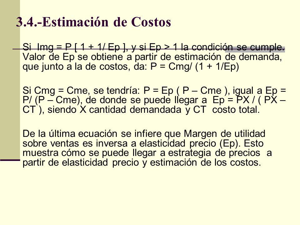 3.4.-Estimación de Costos Si Img = P [ 1 + 1/ Ep ], y si Ep > 1 la condición se cumple. Valor de Ep se obtiene a partir de estimación de demanda, que