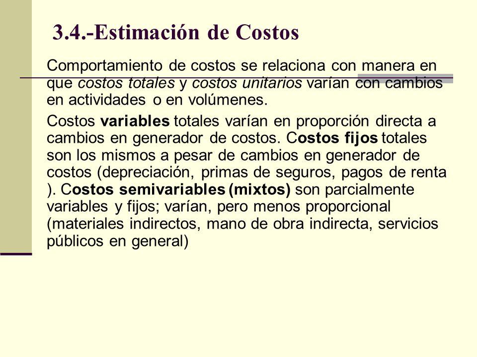 3.4.-Estimación de Costos Un costo es fijo, por cierto periodo corto (un mes o un año) Rango relevante es un periodo específico y un rango en cuanto a volumen o actividades de producción, usados para definir costos fijos y variables.