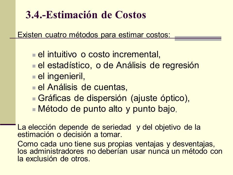 Existen cuatro métodos para estimar costos: el intuitivo o costo incremental, el estadístico, o de Análisis de regresión el ingenieril, el Análisis de