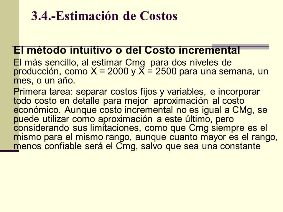 3.4.-Estimación de Costos El método intuitivo o del Costo incremental El más sencillo, al estimar Cmg para dos niveles de producción, como X = 2000 y