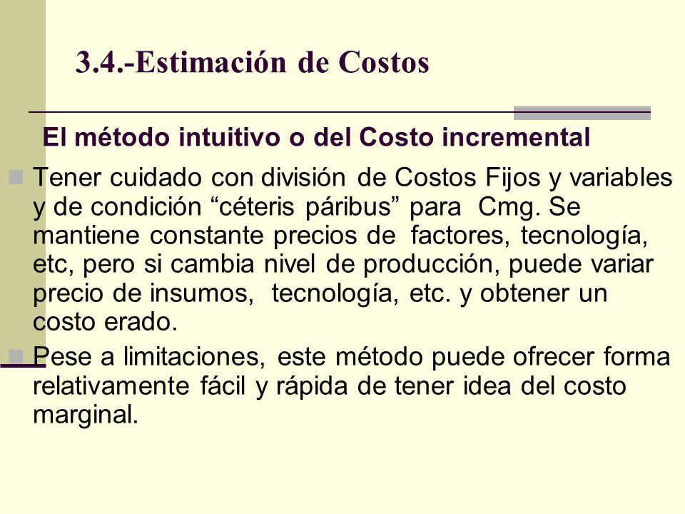 3.4.-Estimación de Costos Tener cuidado con división de Costos Fijos y variables y de condición céteris páribus para Cmg. Se mantiene constante precio