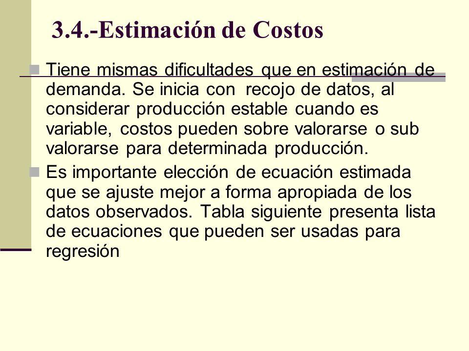 3.4.-Estimación de Costos Tiene mismas dificultades que en estimación de demanda. Se inicia con recojo de datos, al considerar producción estable cuan