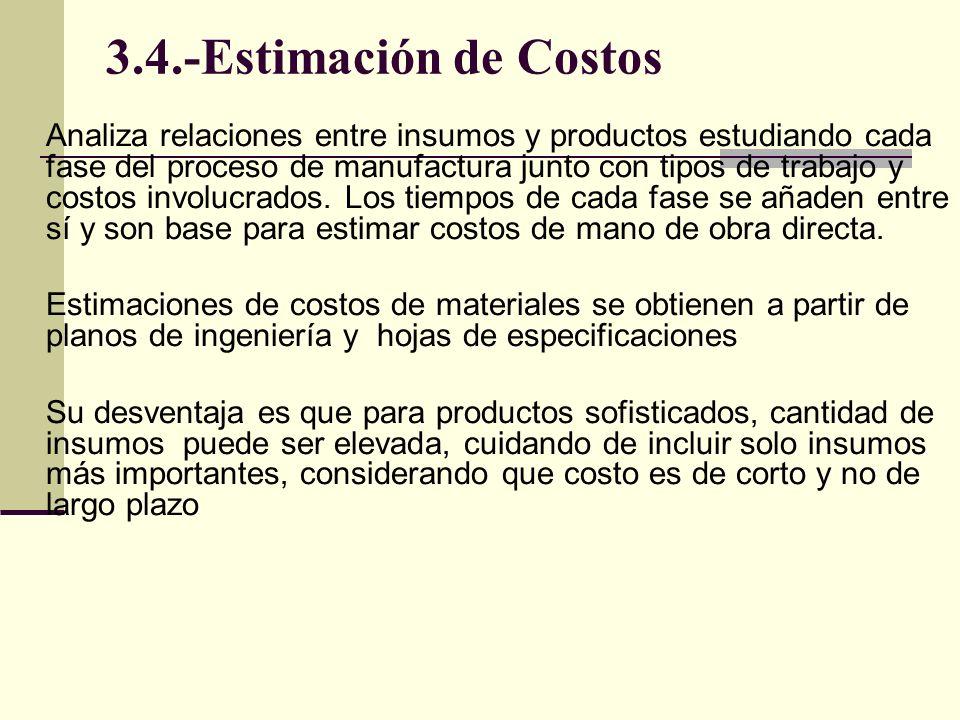 3.4.-Estimación de Costos Analiza relaciones entre insumos y productos estudiando cada fase del proceso de manufactura junto con tipos de trabajo y co