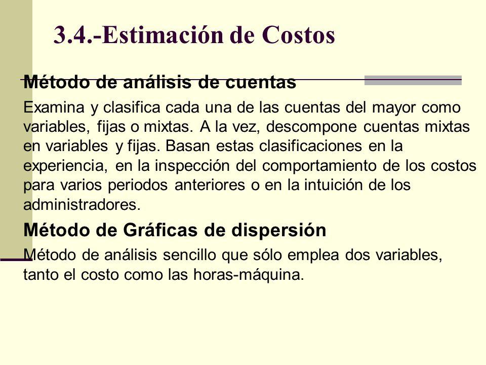 3.4.-Estimación de Costos Método de punto alto y punto bajo Si describimos relación costos-actividades de producción con una línea directa, podemos usar dos puntos sobre una gráfica de dispersión.