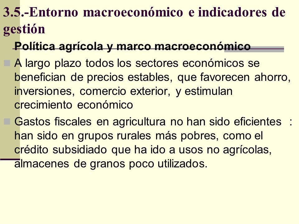 3.5.-Entorno macroeconómico e indicadores de gestión La estabilidad favorece inversión, si tasas de rendimiento son altas, que dependen de tendencia de precios agrícolas reales, Vinculo entre nivel macro y sector vía precios relativos es fuerte y dominante.