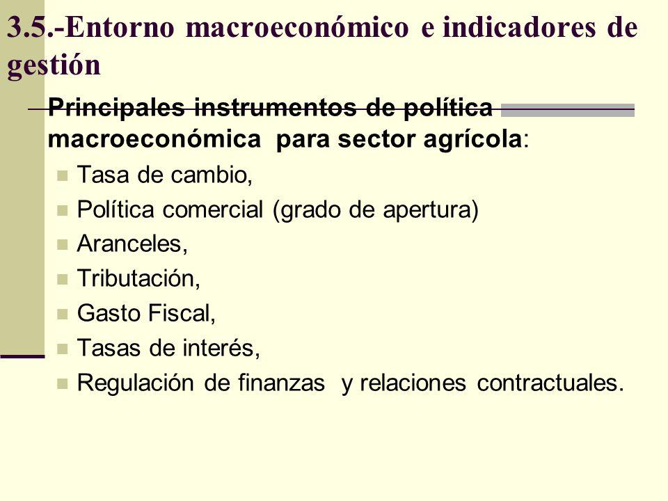 3.5.-Entorno macroeconómico e indicadores de gestión Principales instrumentos de política macroeconómica para sector agrícola: Tasa de cambio, Polític