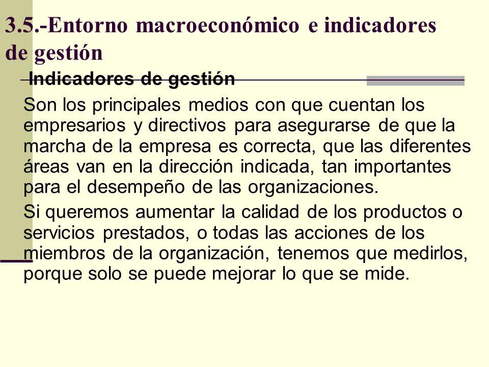 3.5.-Entorno macroeconómico e indicadores de gestión Indicadores de gestión Son los principales medios con que cuentan los empresarios y directivos pa
