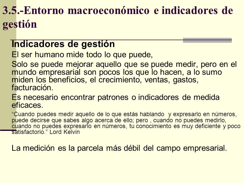 3.5.-Entorno macroeconómico e indicadores de gestión Indicadores de gestión El ser humano mide todo lo que puede, Solo se puede mejorar aquello que se