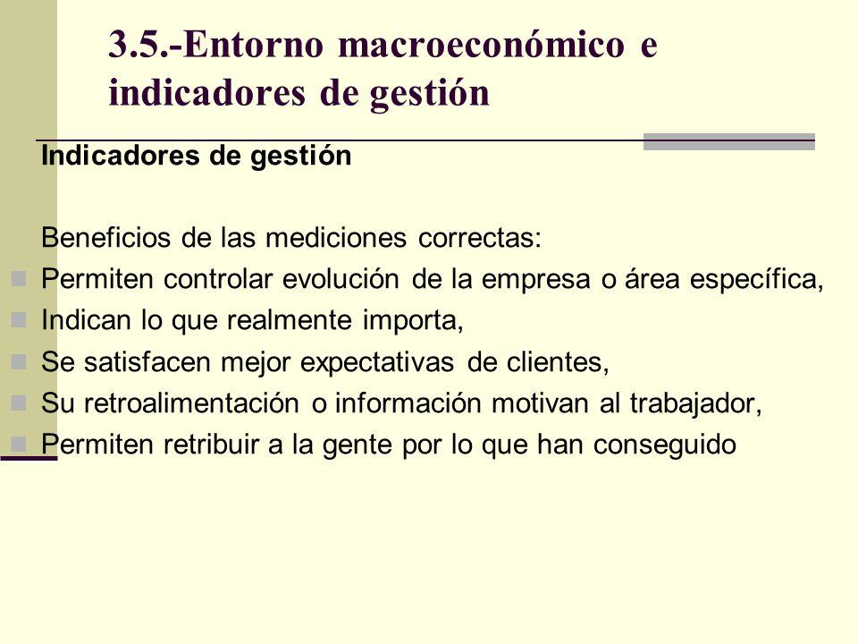 3.5.-Entorno macroeconómico e indicadores de gestión Tipos de Indicadores de gestión Determinadas y priorizadas áreas de resultados clave, se debe identificar los factores que midan el rendimiento y desempeño de cada una de ellas.