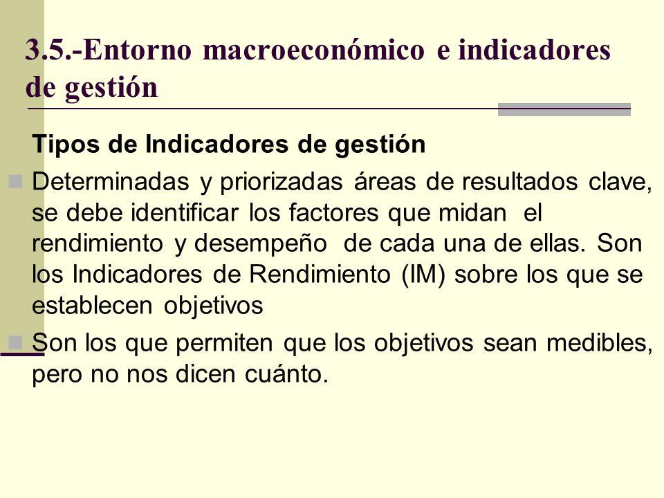 3.5.-Entorno macroeconómico e indicadores de gestión Tipos de Indicadores de gestión Preindicadores, se identifican antes de que ocurran los hechos: año de elecciones, tendencias económicas, etc.