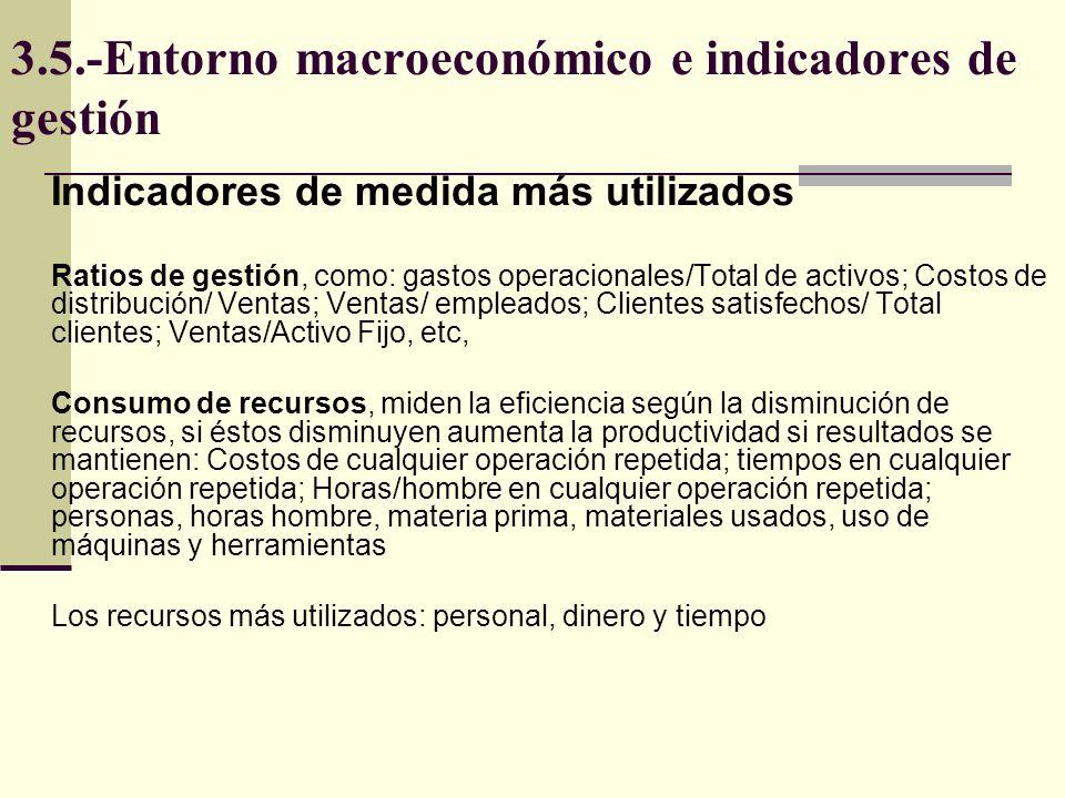 3.5.-Entorno macroeconómico e indicadores de gestión Indicadores de medida más utilizados Ratios de gestión, como: gastos operacionales/Total de activ