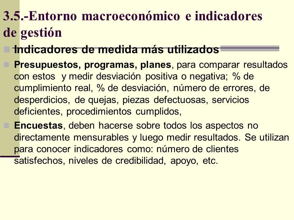 3.5.-Entorno macroeconómico e indicadores de gestión Indicadores de medida más utilizados Presupuestos, programas, planes, para comparar resultados co
