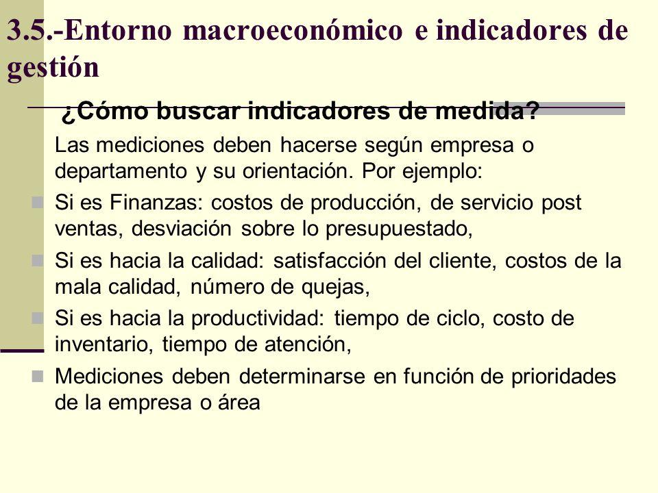 3.5.-Entorno macroeconómico e indicadores de gestión ¿Cómo buscar indicadores de medida? Las mediciones deben hacerse según empresa o departamento y s