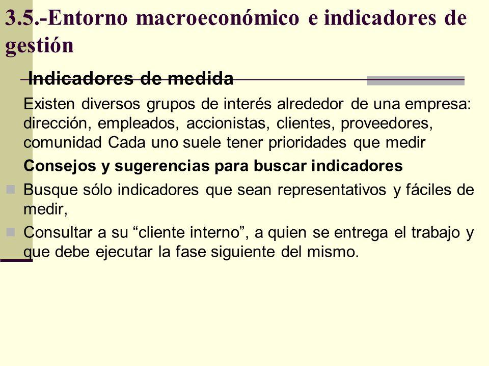 3.5.-Entorno macroeconómico e indicadores de gestión Indicadores de medida Medir los tiempos de los ciclos y procesos Pregúntese qué resultados espera la empresa de mi?, ¿Cómo los puedo medir.